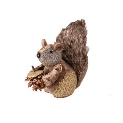 Country Cabin Decorative Fur Trim Squirrel with Pine Cone Christmas Tabletop Figurene