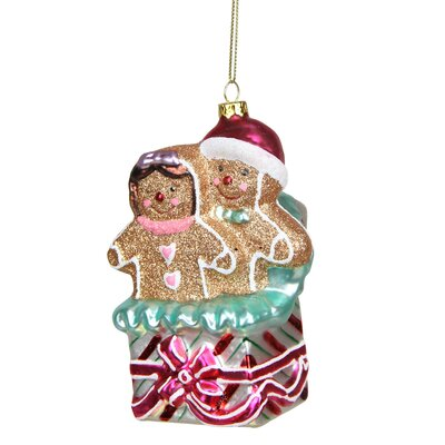 Glittered Gingerbread Man and Woman in Gift Box Glass Christmas Ornament