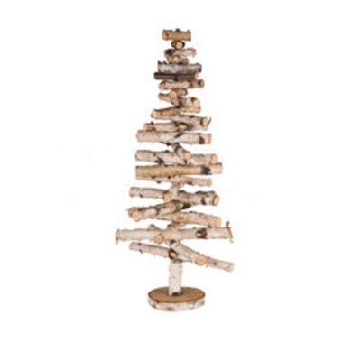 Country Cabin Decorative Movable Wooden Birch Bark Christmas Tree