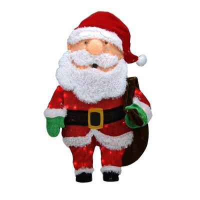Candy Lane Pre-Lit Cane 2D Santa Claus with Bag Christmas Yard Art Decoration