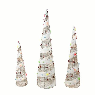 3 Piece Lighted Rattan Candy Covered Cone Tree Christmas Yard Art Decorations Set