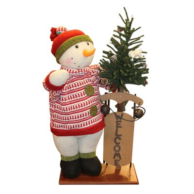 Battery Operated Lighted Snowman with Welcome Sled Christmas Figure on Wooden Base 31743910