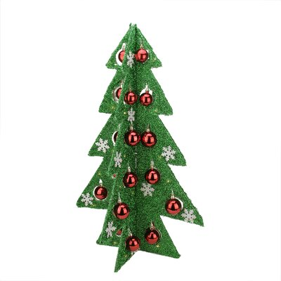 Battery Operated Decorated Tinsel LED Lighted Christmas Tree Table Top Decoration Color: Green