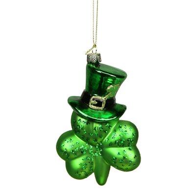 Luck of the Irish Top Hat Shamrock Leaf Glass Christmas Ornament
