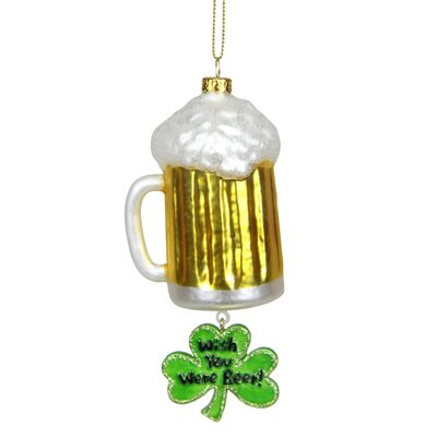 """Luck of the Irish """"Wish You Were Beer"""" Glass Christmas Ornament"""