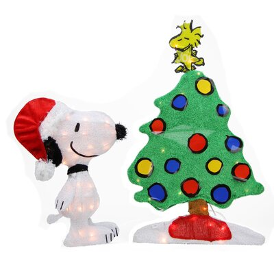 Peanuts Pre-Lit 2D Snoopy and Christmas Tree Yard Art Decoration