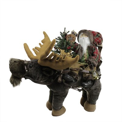 Country Rustic Santa Claus Sitting on Moose Decorative Christmas Figure