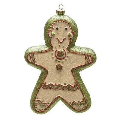 Merry and Bright Green Glittered Shatterproof Gingerbread Girl Christmas Ornament