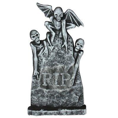 Lighted Gothic Tombstone with Skeletons Indoor/Outdoor Halloween Decoration