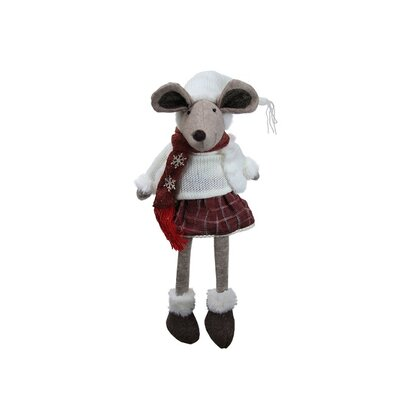 Cozy Winter Plaid Sitting Mouse Girl with Dangling Legs Decorative Christmas Figure 32255993