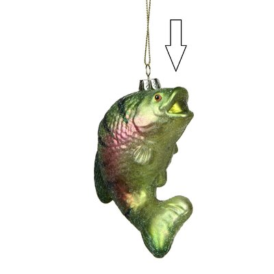 Under the Sea Glittered Stripped Fish Glass Christmas ornament 31752680