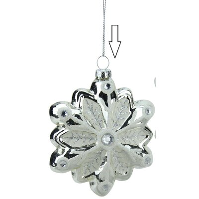 Snowflake with Faux Gems Glass Christmas Ornament 31752969