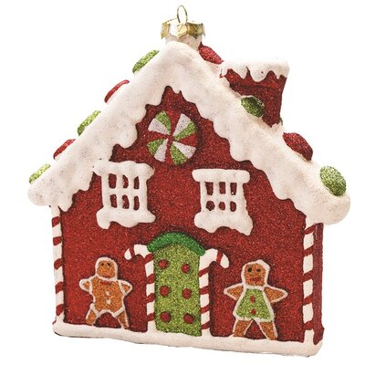 Merry and Bright Glitter Shatterproof Gingerbread House Christmas Ornament