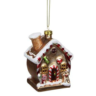 Gingerbread Kisses Glittered Glass House Decorative Christmas Ornament