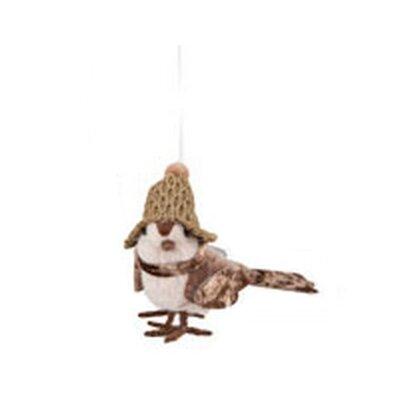 Country Cabin Decorative Cozy Brown Bird with Winter PomPom Hat Christmas Ornament