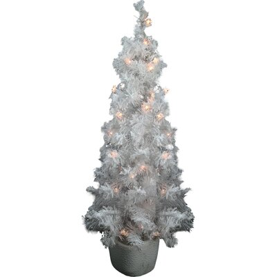 3.5' White Artificial Christmas Tree with 35 Colored & Clear Lights with Stand