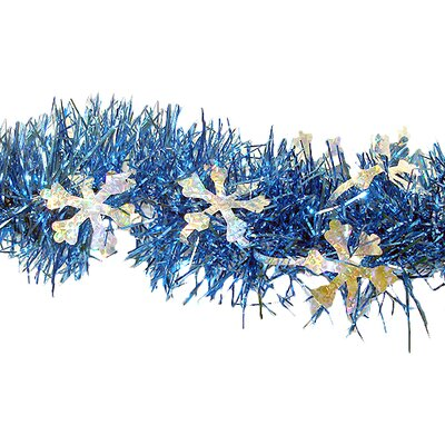Christmas Tinsel Garland Holographic Snowflakes with Unlit Color: Blue