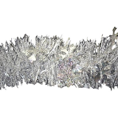 Christmas Tinsel Garland Holographic Snowflakes with Unlit Color: Shiny Silver