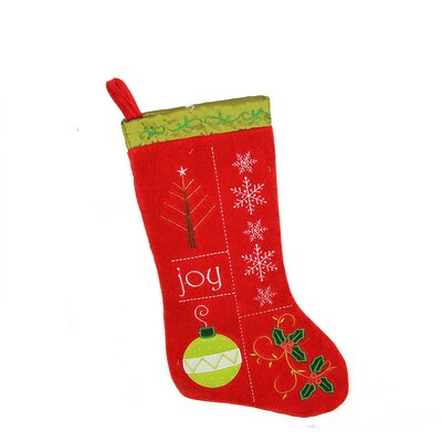 """Traditional """"Joy"""" Embroidered Cuffless Christmas Stocking"""