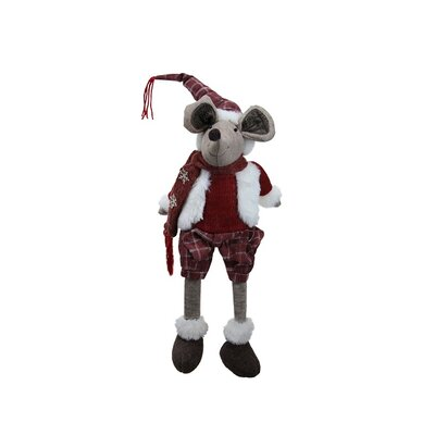Cozy Winter Plaid Sitting Mouse Boy with Dangling Legs Decorative Christmas Figure 32255995