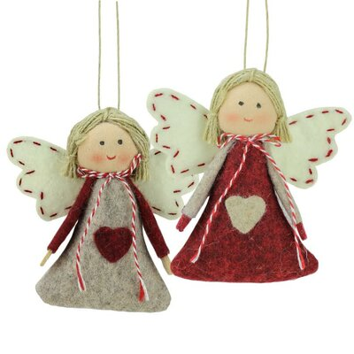 2 Piece Holiday Angel Girl Decorative Hanging Christmas Ornament Set