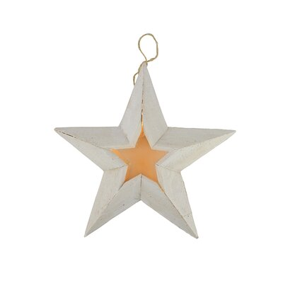 Pre-Lit Battery Operated LED Country Rustic Woden Star Christmas Decoration Color: Rustic White