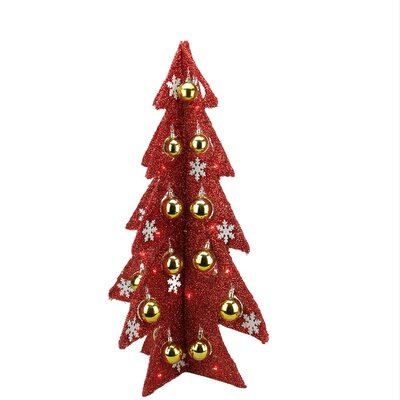 Battery Operated Decorated Tinsel LED Lighted Christmas Tree Table Top Decoration Color: Red