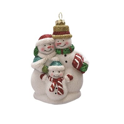 Merry and Bright Glitter Shatterproof Snowman Family Hanging Christmas Ornament THDA4021 42466808