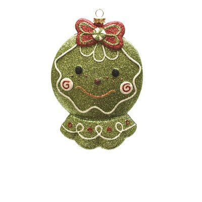 Merry and Bright Glittered Shatterproof Gingerbread Head Christmas Ornament