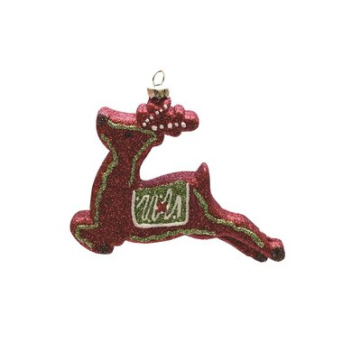 Merry and Bright Xmas Glitter Shatterproof Reindeer Christmas Ornament