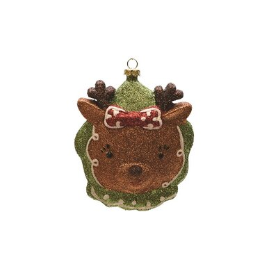 Merry and Bright Glittered Shatterproof Reindeer Head Christmas Ornament