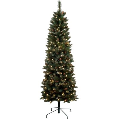 4.5' Yorkville Pine Pencil Artificial Christmas Tree with 100 Multi Lights