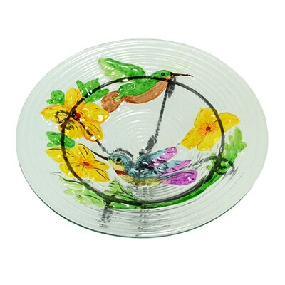 Glass Vibrant Hummingbird and Flowers Outdoor Garden Birdbath 11AUG107