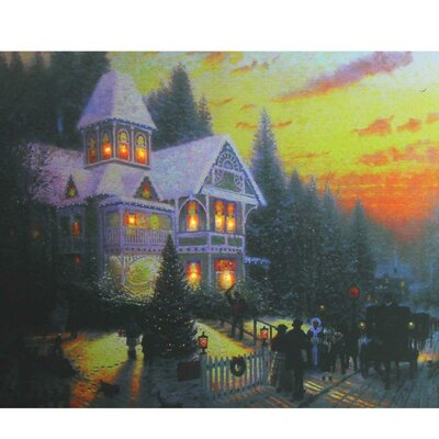 Victorian Inspired Christmas Battery Operated LED Lighted Painting Print on Canvas
