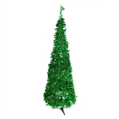 7.5' Bright Green Tinsel Artificial Christmas Tree with Clear Light