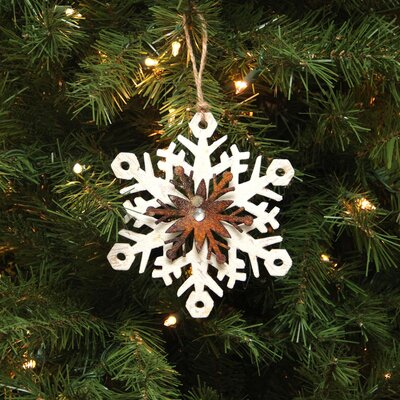 Country Rustic Snowflake Christmas Ornament Color: White/Brown