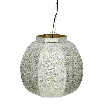 Moroccan Style 1-Light Globe Pendant Color: White / Gold