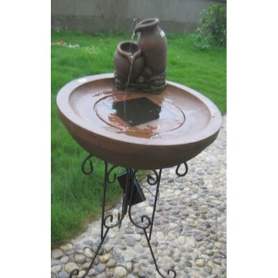 Solar Powered Rustic Terracotta Ribbed Outdoor Garden Water Fountain CA73700