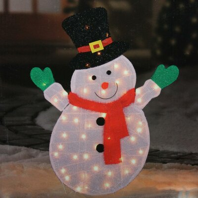 Lighted Winter Snowman with Top Hat Outdoor Christmas Yard Art Decoration