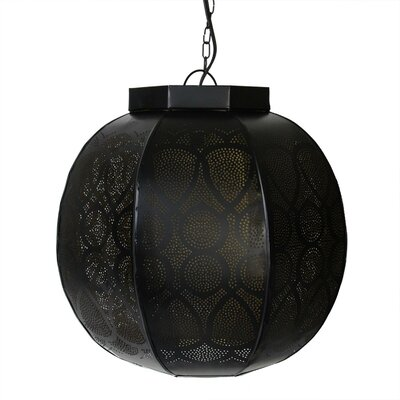 Moroccan Style 1-Light Globe Pendant Color: Distressed Black / Gold