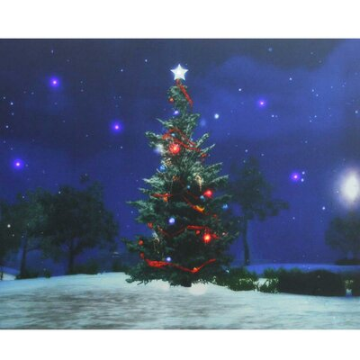 Christmas Tree at Night Battery Operated LED Lighted Graphic Art on Canvas