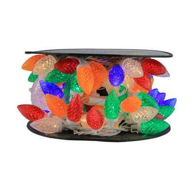 100 Piece Commercial Length LED Faceted C9 Christmas Light on Spool Spacing Set Color: Multi