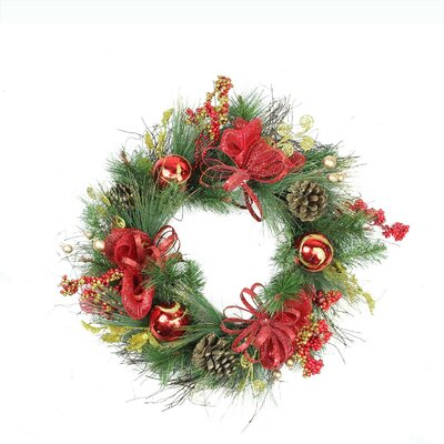 Berry Unlit Glittered Artificial Christmas Wreath