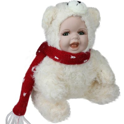 Porcelain Baby in Polar Bear Costume Collectible Christmas Doll