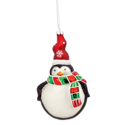 Friendly Penguin with Striped Scarf and Matching Snowflake Hat Glass Christmas Disc Hanging Figurine THDA7335 43375087