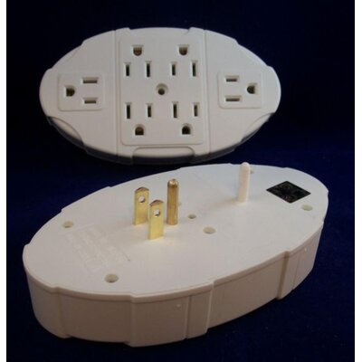 6 Outlet Electric Transformer Tap Grounded Wall Adapter