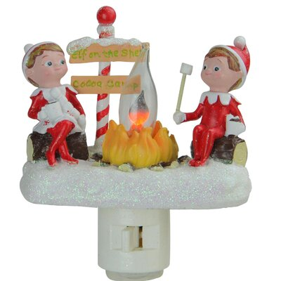 4.5 Elf on the Shelf North Pole Elf Campfire Site Flickering Christmas Night Light
