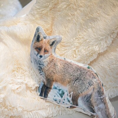 Epinal Inquisitive Fox in Snow Throw Pillow