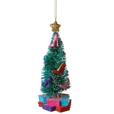 "5.5"" Flocked Glittered High Heel Pump Christmas Tree Shaped Ornament THDA7021 43374669"