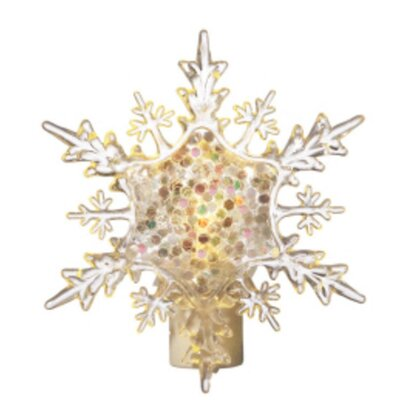 6.5 Icy Crystal Glitter Snowflake Christmas Night Light